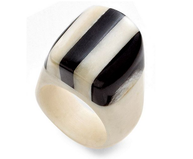 Heart of Haiti Jewelry, Black & White Striped Horn Ring - PitaPats.com