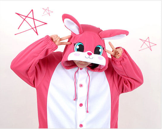 PITaPATs kids onesie animal jumpsuit costume - long sleeve pink rabbit - PitaPats.com