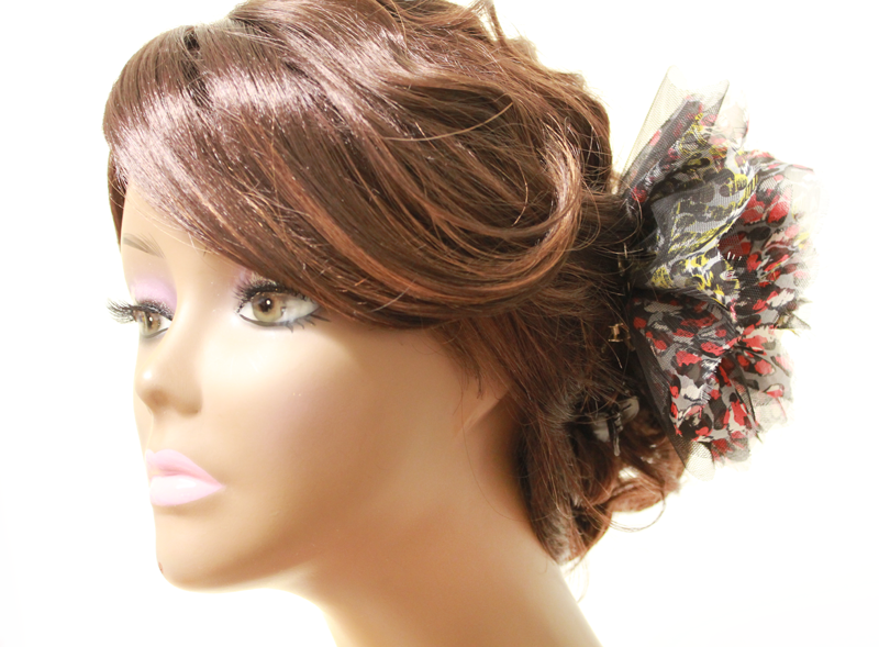 Mixed Color Leopard Print Big Flower Cossage Headpiece - PitaPats.com