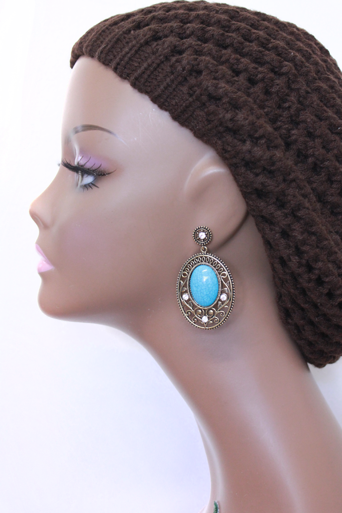 Turquoise Stone Baroque Style Earring - PitaPats.com