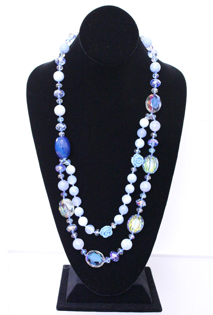 Sea Blue Glass Beads With a Rose Necklace - PitaPats.com