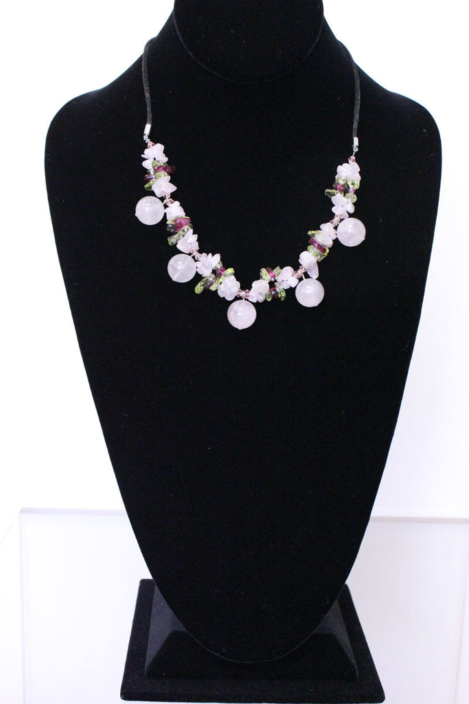 Natural Stone & Glass & Beads Necklace - Rose Pink - PitaPats.com