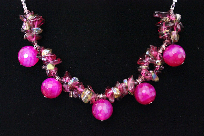 Natural Stone & Glass & Beads Necklace - Dark Fuisha Pink - PitaPats.com