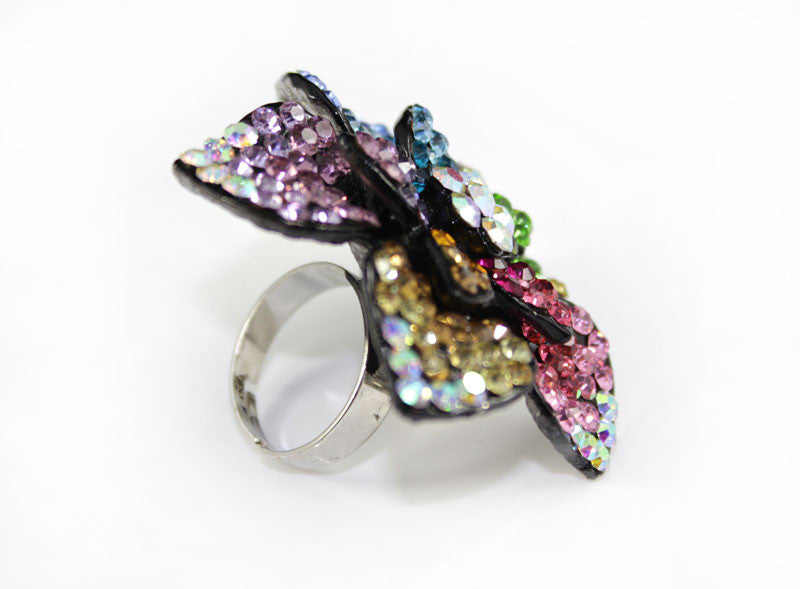 Multi Color Crystal  Mega Size Flower Ring - PitaPats.com