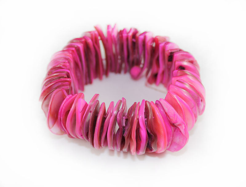 Fuisha Pink Natural Sea Shell Half Moon Shape Bracelet - PitaPats.com