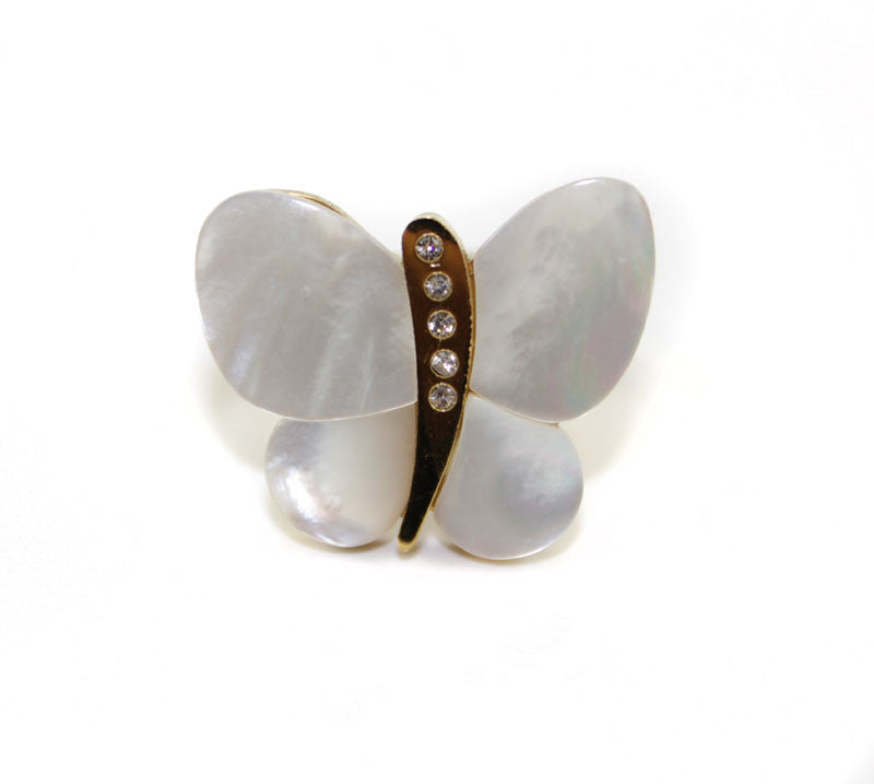 Butterfly Mother Of Pearl With Swarovski Crystal ring - PitaPats.com