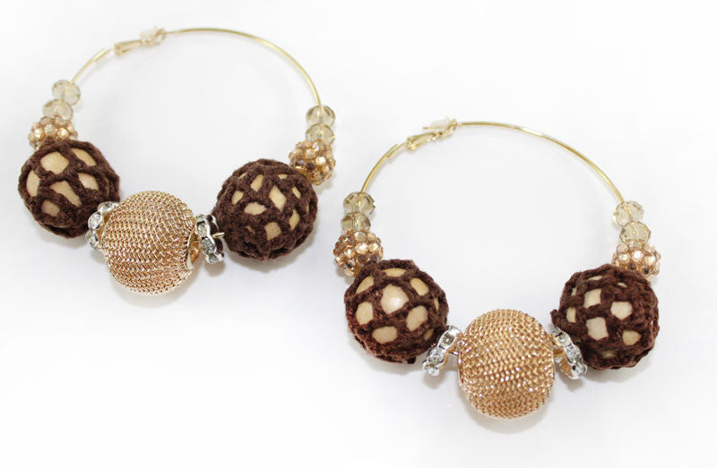 Crochet , Lace, Beads Mega Hoop Earring - Brown - PitaPats.com