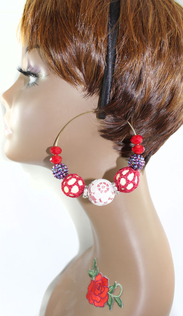 Crochet , Lace, Beads Mega Hoop Earring - Red - PitaPats.com