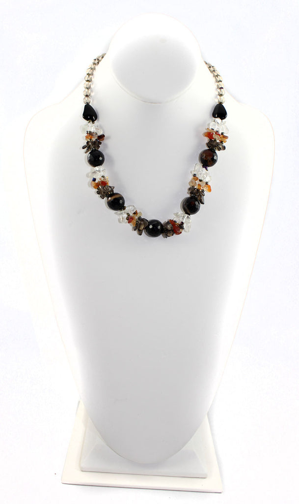 Natural Stone & Glass & Beads Multi Color Necklace and Earrings Set - Black - PitaPats.com
