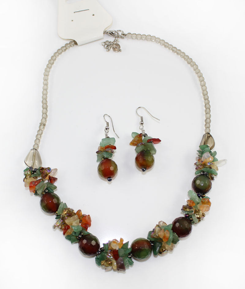 Natural Stone & Glass & Beads Multi Color Necklace and Earrings Set - Raddish Green - PitaPats.com