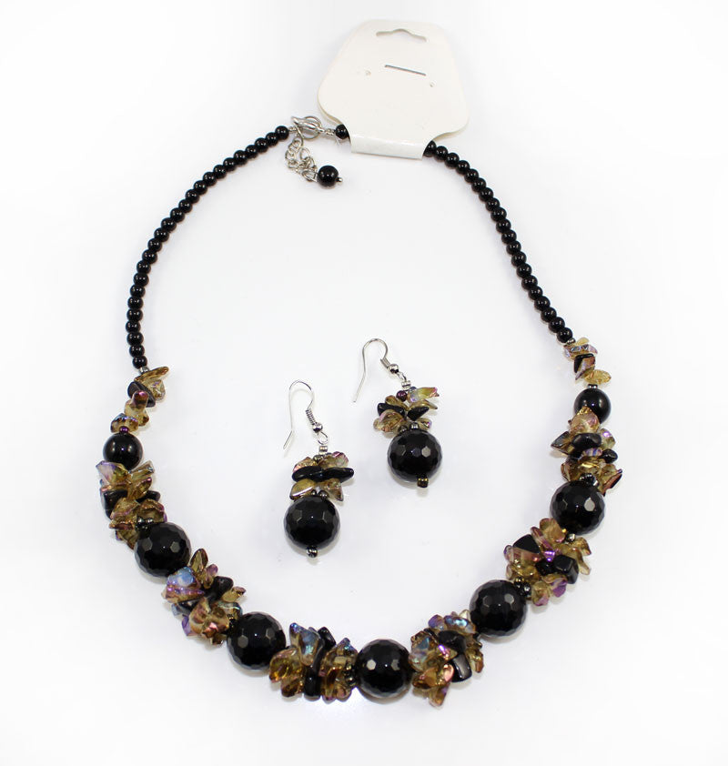 Natural Stone & Glass & Beads Multi Color Necklace and Earrings Set - Black Brown - PitaPats.com