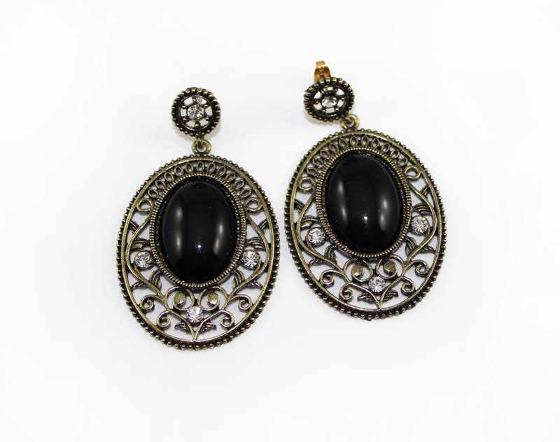 Black Stone Baroque Style Earring - PitaPats.com
