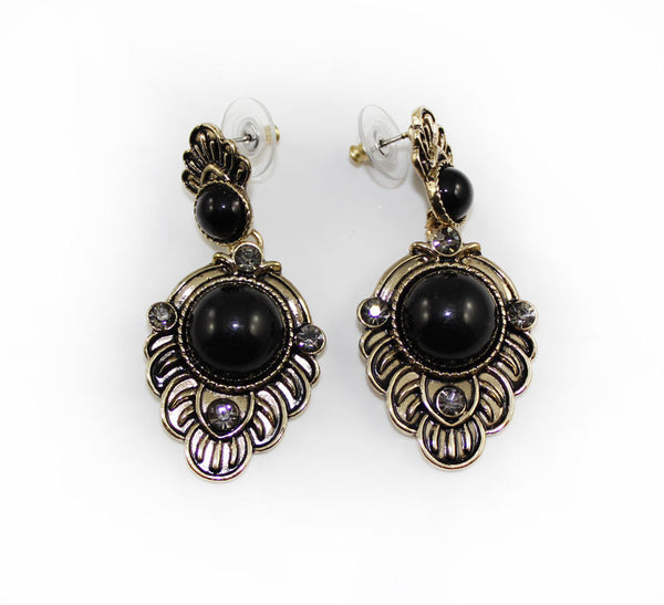 Black Stone Baroque Style Earring - small - PitaPats.com