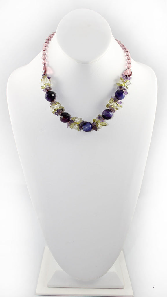 Natural Stone & Glass & Beads Multi Color Necklace and Earrings Set - Purple - PitaPats.com