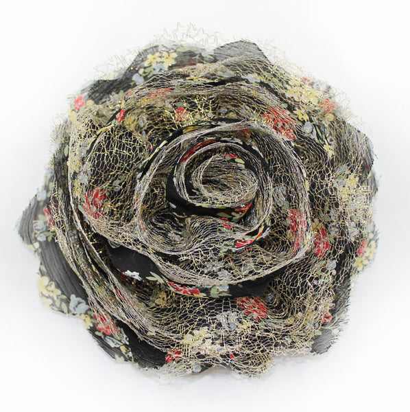 Black Golden Big Flower Cossage Headpiece - PitaPats.com
