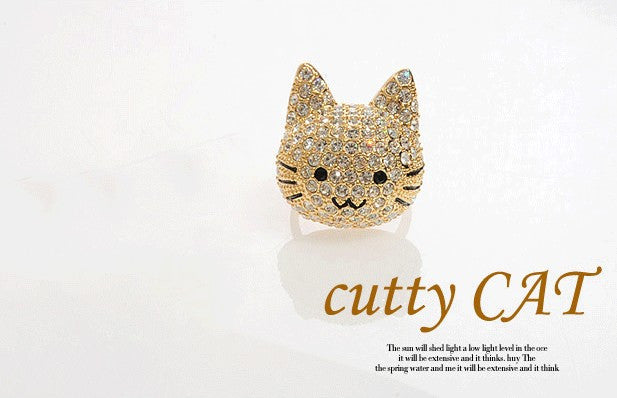Crystal Gold Tone Cocktail Cat Ring - PitaPats.com