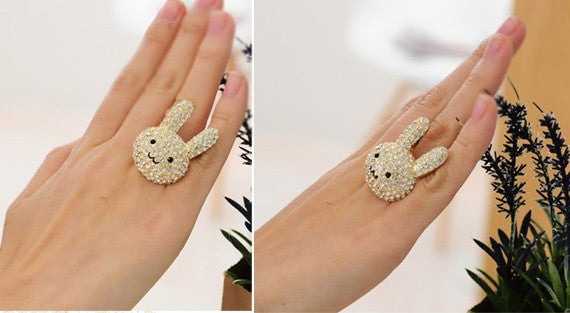 Crystal Gold Tone Cocktail Rabbit Ring - PitaPats.com