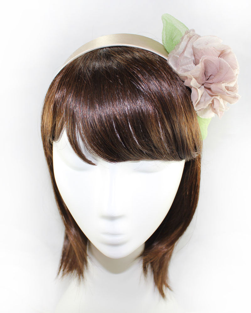 Silk Italian Mocha Color Flower Headband - PitaPats.com