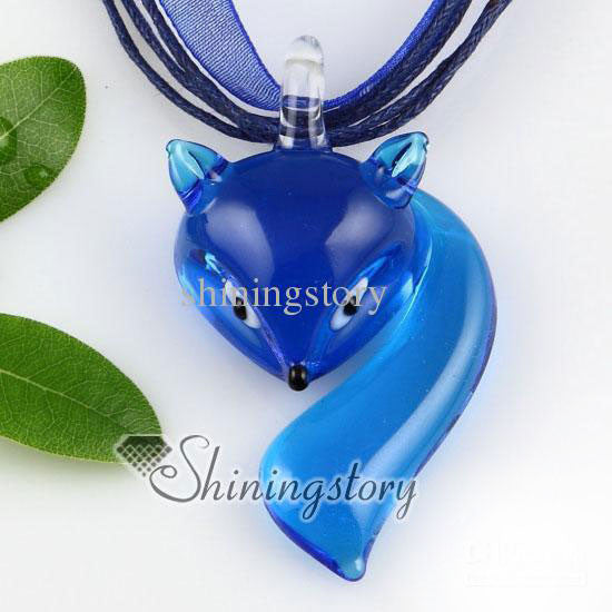 Murano Glass Fox Face Necklace - PitaPats.com
