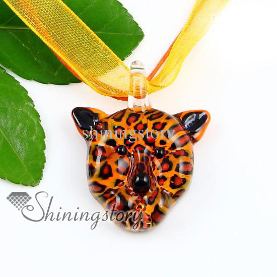 Murano Glass Leopard Face Necklace - PitaPats.com