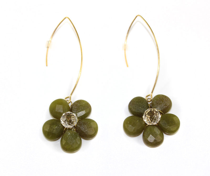 HANDMADE Natural Stone with Swarovski Crystal Cherry Blossom Flower Earring - PitaPats.com