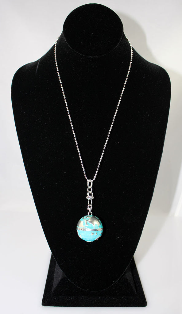 Sterling Silver the Planet Earth Globe Mega Sized Necklace - PitaPats.com