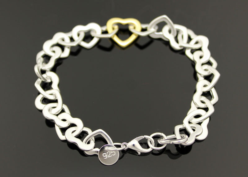 Sterling Silver Heart Linked Bracelet - PitaPats.com