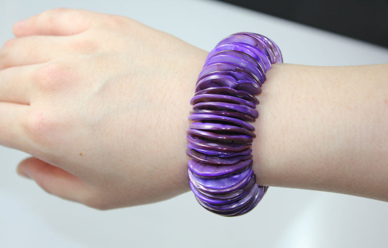 Purple Natural Sea Shell Half Moon Shape Bracelet - PitaPats.com
