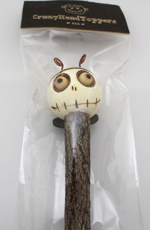 Crazy Head Topper Wooden Pencil with Crazy Doll - Bee - PitaPats.com