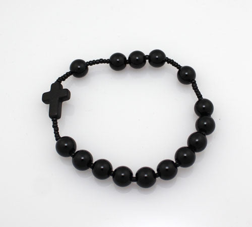 Rosary Style Black Agate stone Bracelet - PitaPats.com