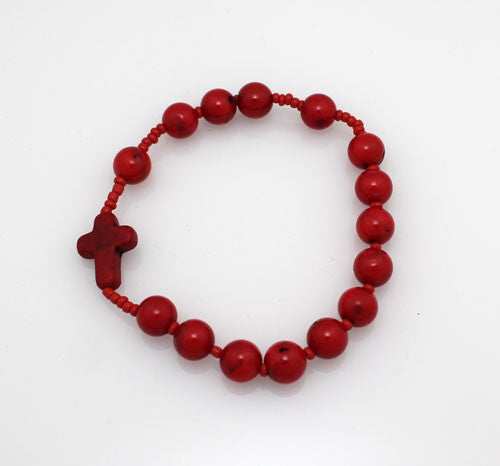 Rosary Style Red Coral stone Bracelet - PitaPats.com