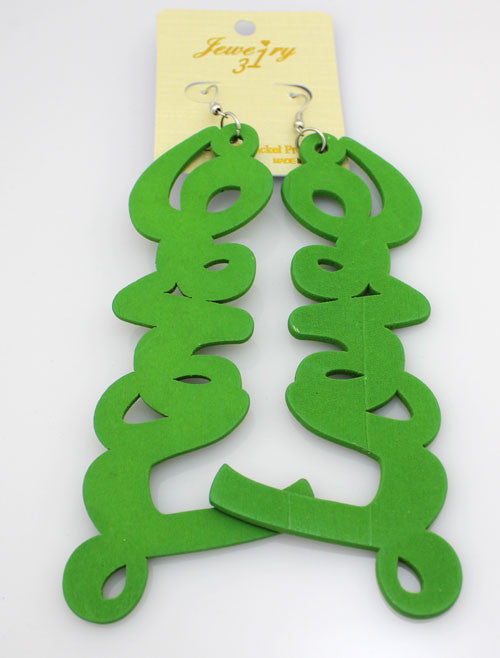 Wood Letter 'LOVE' Earrings - Green - PitaPats.com