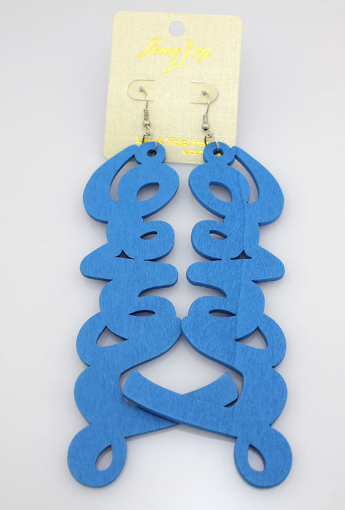 Wood Letter 'LOVE' Earrings - Sky Blue - PitaPats.com