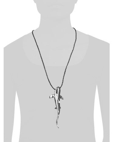 E&L Made In Israel Sterling Silver Shark Navy Cord Necklace - PitaPats.com