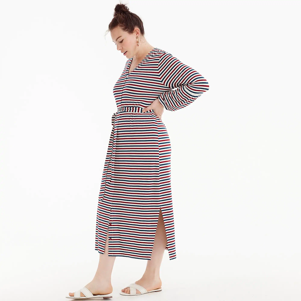 J.crew Universal Standard for J.Crew jersey long-sleeve maxi dress in stripe