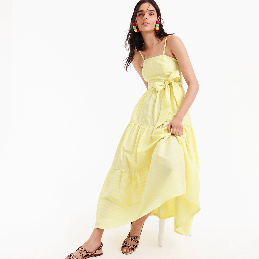 J.crew Tiered maxi dress in stripe - light yellow