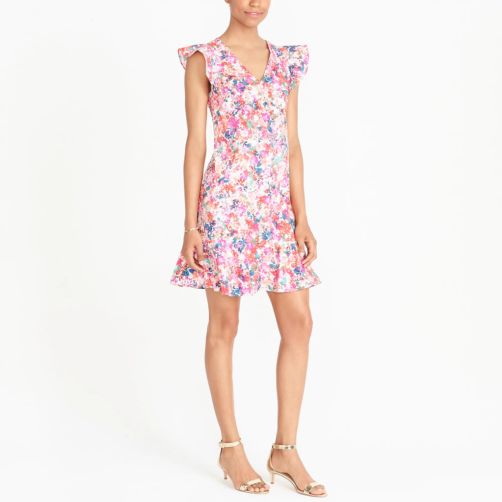 J.crew Printed Ruffle Tank Dress