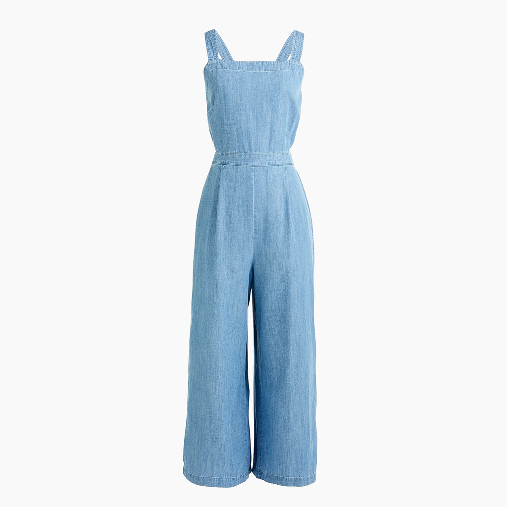 J.crew Cross-back DENIM JUMPSUIT Mamamia Overalls - Light Blue