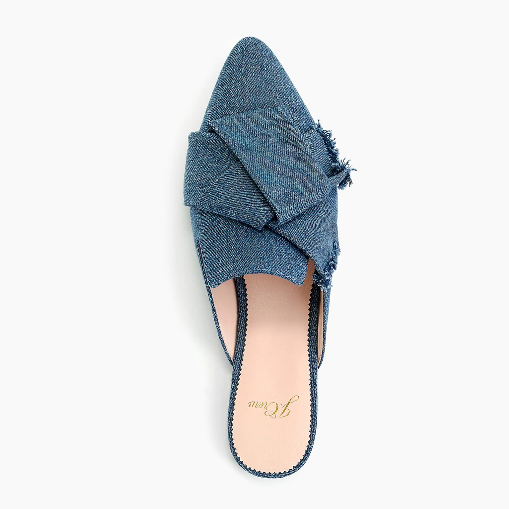 J.crew Pointed-toe slides in denim Shoes
