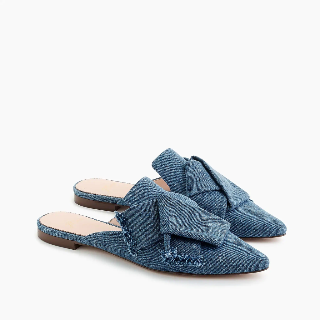J.crew Pointed-toe  Loafer slides in denim Sandal Shoes