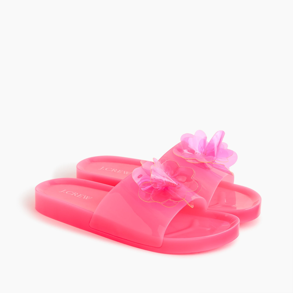 J.crew Pink jelly blossom pool slides