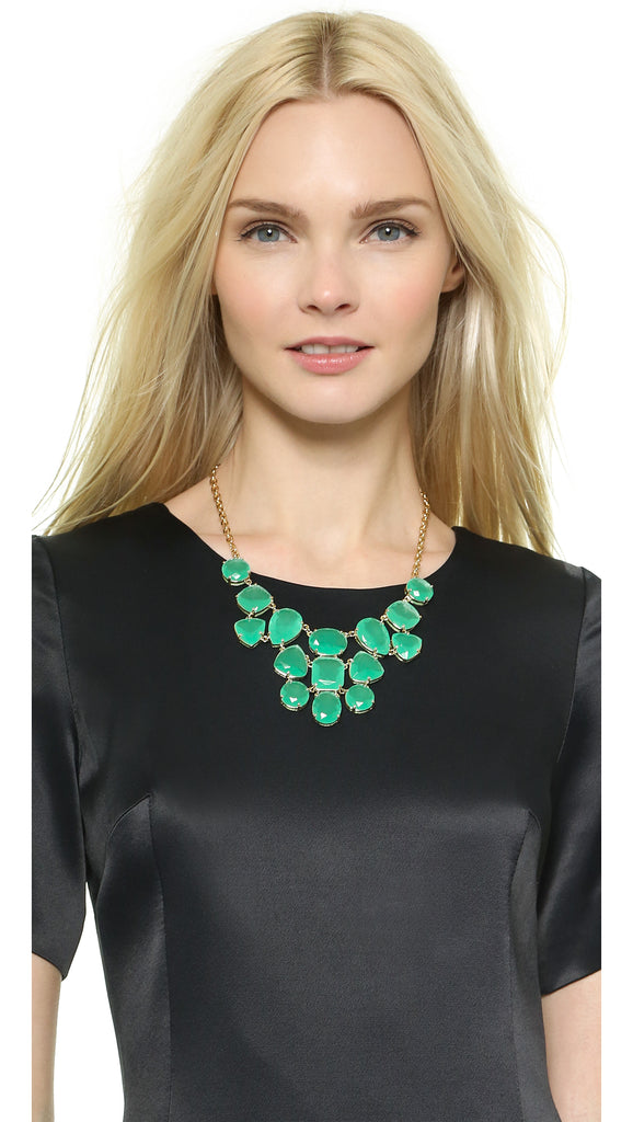 Kate Spade New York Vegas Green Emerald Jewels Statement Necklace