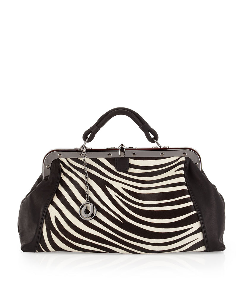 Charles Jourdan Galaxy II Zebra-Print Leather-Calf Hair Satchel - PitaPats.com