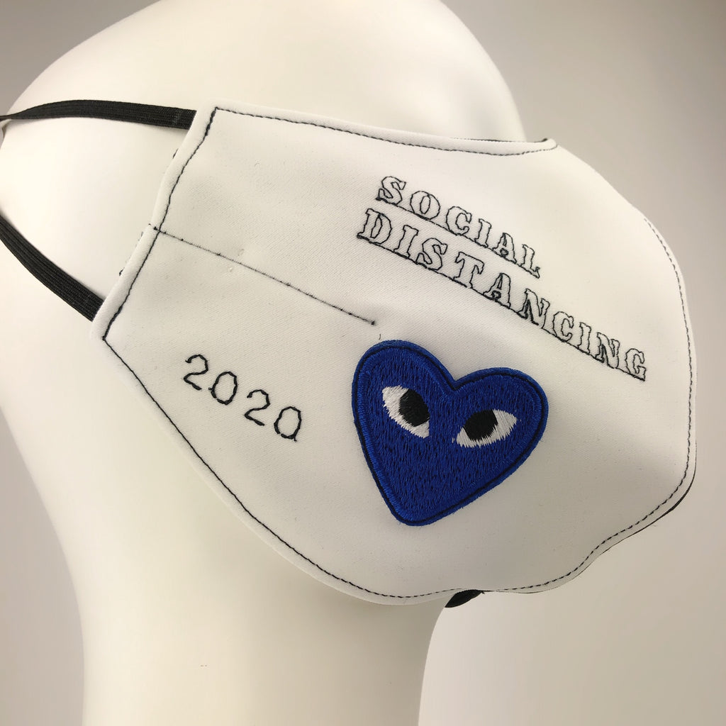 Mask 4 Protect Blue Heart Black & White Face Mask