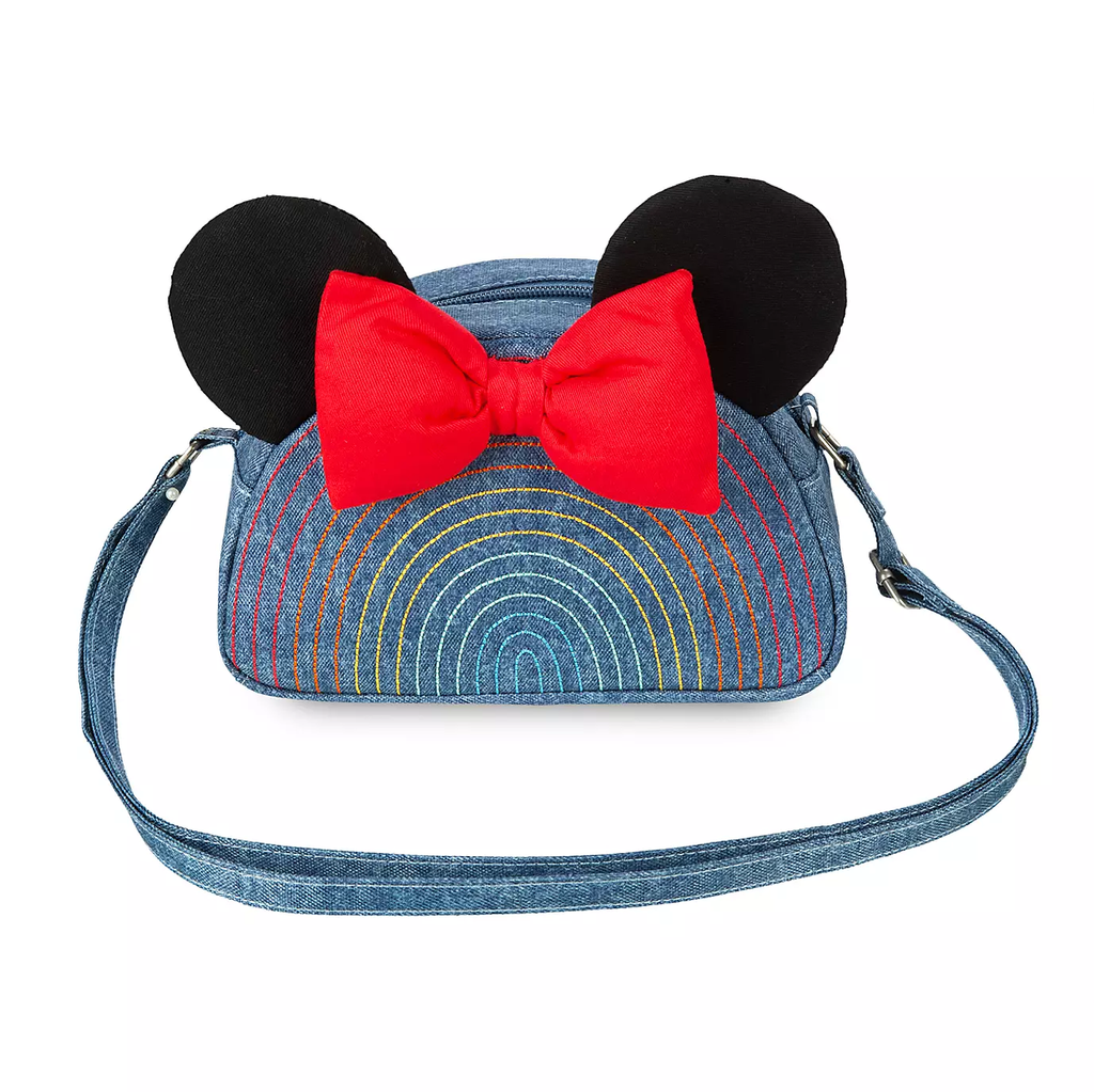 Disney Minnie Mouse Denim Rainbow Fashion Crossbody Bag Red Bow