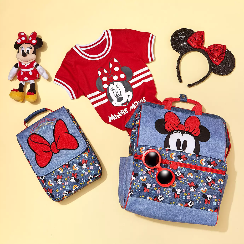 Disney Minnie Mouse Rainbow Backpack Red Bow