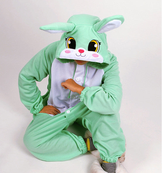 PITaPATs onesie animal jumpsuit costume - long sleeve mint rabbit
