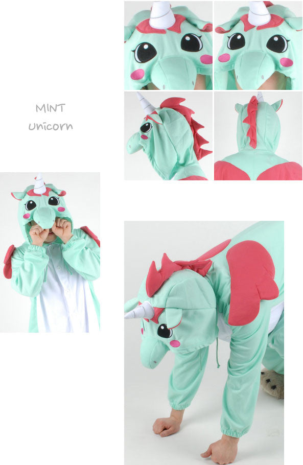 PITaPATs kids onesie animal jumpsuit costume - long sleeve mint unicorn - PitaPats.com