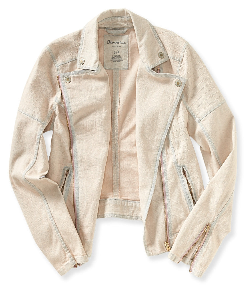 Aeropostale Color Wash Denim Moto Jacket - PitaPats.com