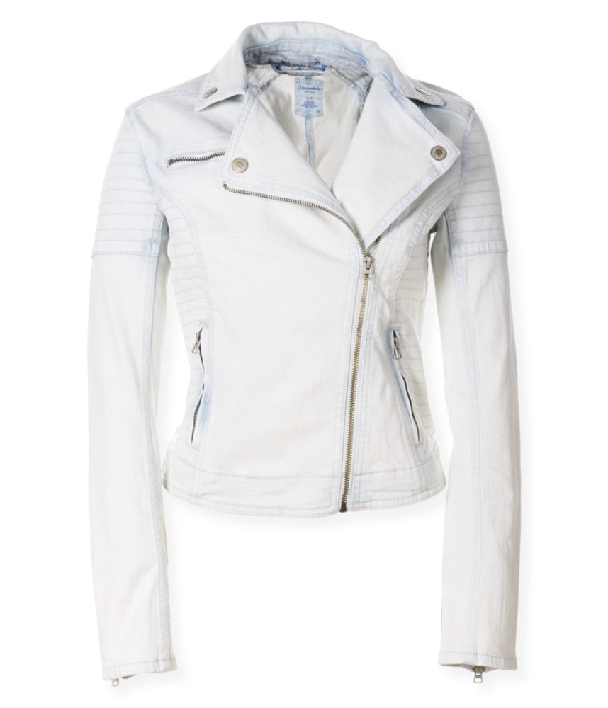 Aeropostale Light-Wash Denim Moto Jacket - PitaPats.com